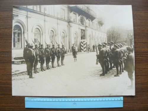 German WWI Poland Soldiers in Front of Polish Castle Real Large Photo