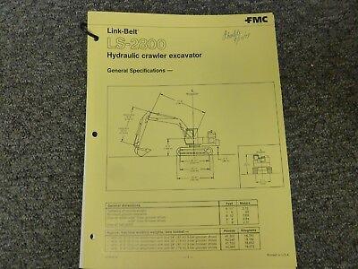 Link-belt Ls-2800 Crawler Excavator Specifications Lifting Capacities Manual