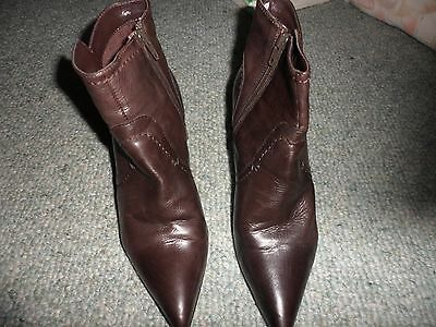 ladies Linea dark brown leather fashion ankle boots size 36 side zip small heel for sale  Shipping to South Africa