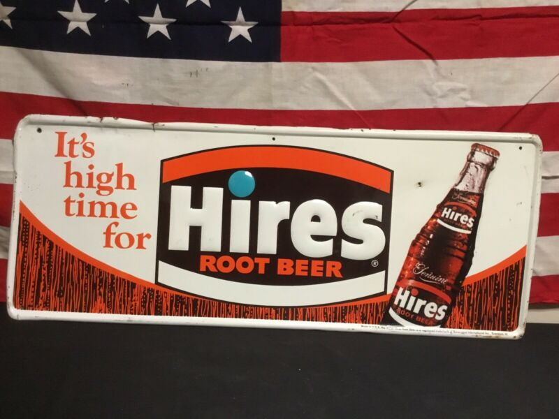 Rare Vintage 1960s Its High Time For Hires Root Beer Embossed Metal Bottle Sign.