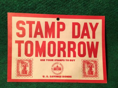 U.S. Savings Stamps & Bonds Original Poster From 1961 Stamp Day For Grade School