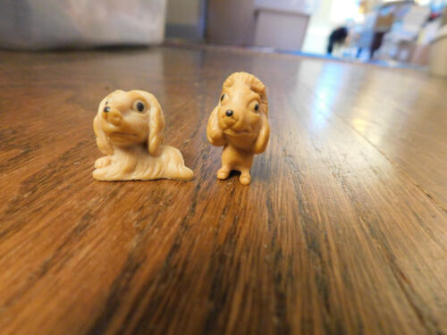 Vtg Lot PVC mini tiny big head tan dogs sitting & laying figures dollhouse pets