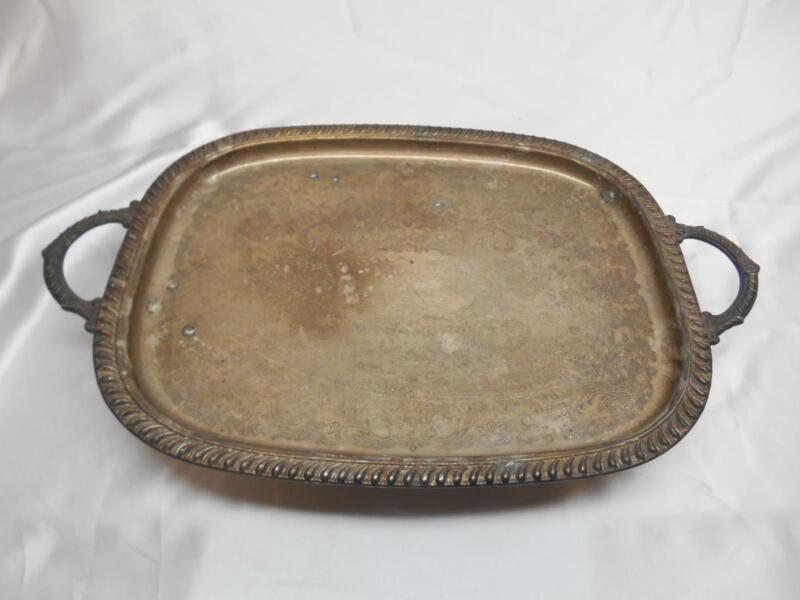 ANTIQUE SILVERPLATED SERVING TRAY ORNATE ETCHED DESIGN 2 Handles 4 Feet Table