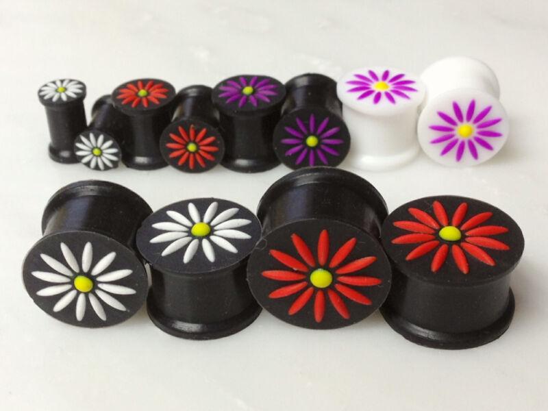 "24pcs Silicone Flower Plugs 2g through 5/8"" Wholesale Body Jewelry Lot (e93)"