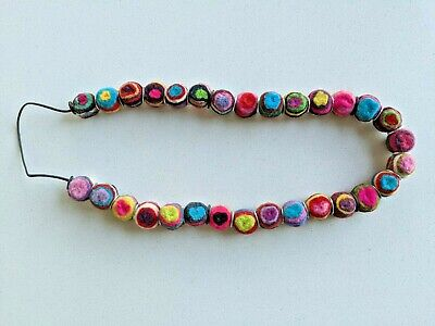 Handmade Felt bead necklace with washers - multicolor w hearts, stripes Handmade Felt Jewelry