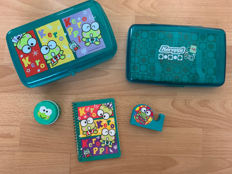 LOT Vintage 1995-97 Kerokero Keroppi Frogs/Green Pencil Box Tape Tin SANRIO