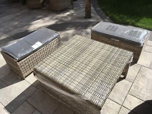 BRAND NEW outdoor coffee table & 2 ottoman