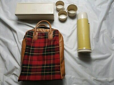 Vintage Red Plaid Lunch Bag with Thermos and Sandwich Carrier