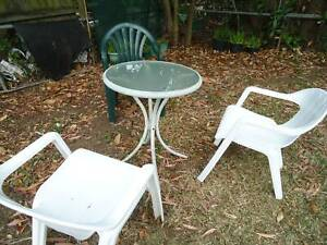 Sturdy Beautiful Outdoor tempered glass table and 3 chairs