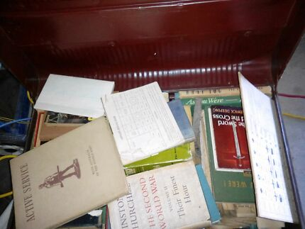 Old War & service related books and inc chest Sandgate Brisbane North East Preview