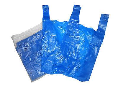 100 BLUE PLASTIC VEST STYLE CARRIER BAGS MEDIUM SIZE 10''x15''x18'' FREE P&P