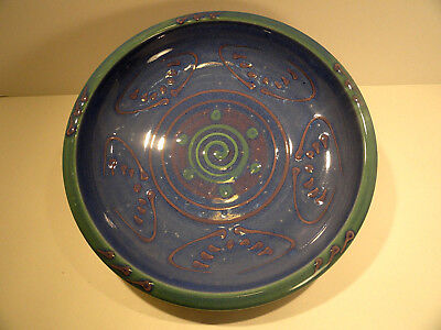 C. Jahn Pottery Blue and Green and Tan Swirl Dish
