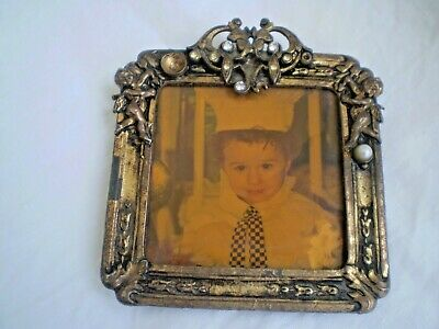 Ornate Oval Metal Picture Frame Face Altered Art Gold Picture Frame