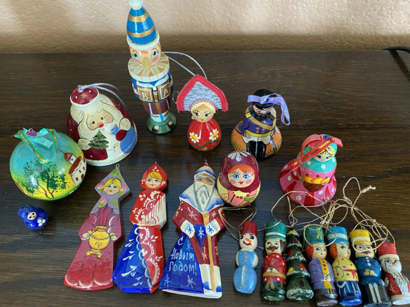 Russian Hand Painted Wooden Christmas Ornaments Bells Matroshkas Lot of 18 pcs