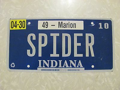 """2009 INDIANA LICENSE PLATE original paint FREE SHIPPING """"SPIDER""""'"""