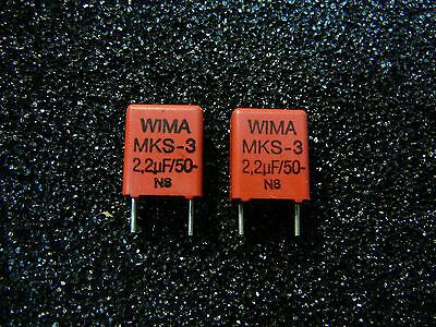 Wima Mks-3 2.2uf 50v Metallized Polyester Capacitor New Qty.2