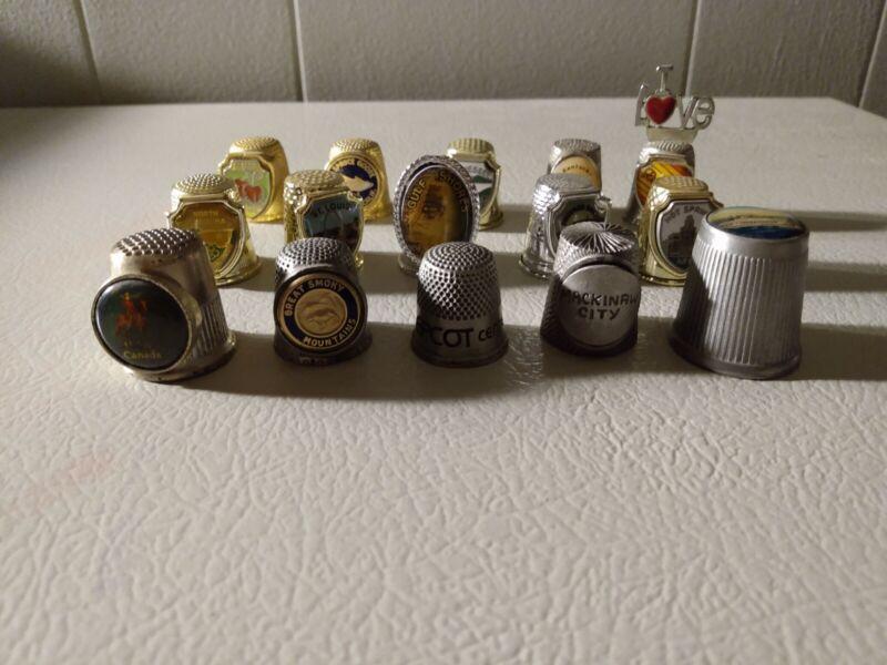 Lot Of 15 Vintage Metal Thimbles, used.