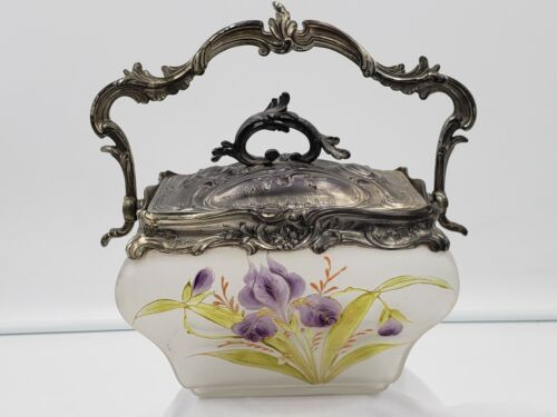 Antique French Hand Painted Cookie Biscuit Jar Attributed to LeGras