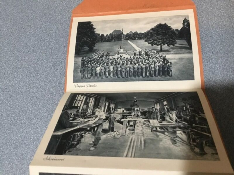 WWII THIRD REICH ERA ACCORDION 16 PHOTO BOOK YOUNG MEN TRAINING WORKING HOUSE