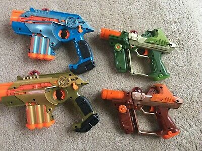 4 Phoenix LTX Lazer Laser Tag Guns 2 Nerf & 2 Tiger Electronics Tested & Working