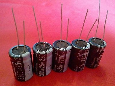 5pcs 2200uf 2200mfd 25v Electrolytic Capacitor 105 Degrees Usa Free Shipping