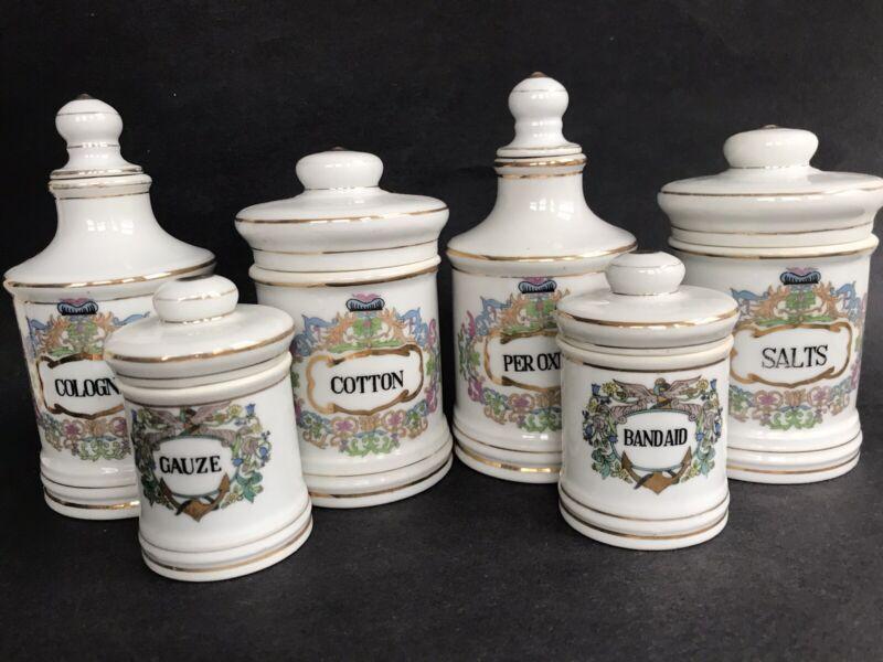 6 VTG Antique Apothecary Vanity Gold Scrolls Porcelain Dresser Jars Canisters