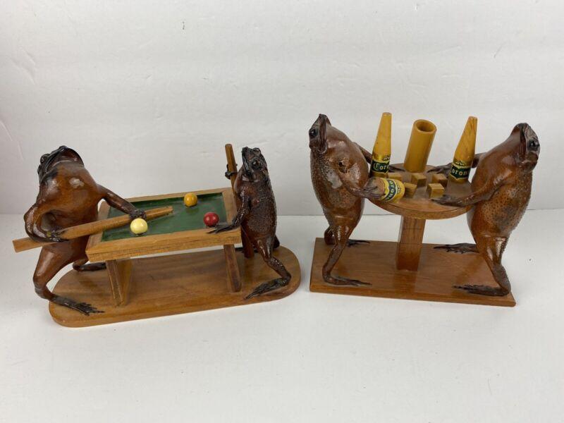 Taxidermy Frogs Playing Pool Billards Dice & Drinking Beer Pen Holders Vintage