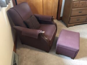 Maroon vintage upholstered armchair and matching ottoman