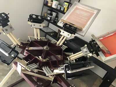 Screen Printing Press 6 Color4 Station