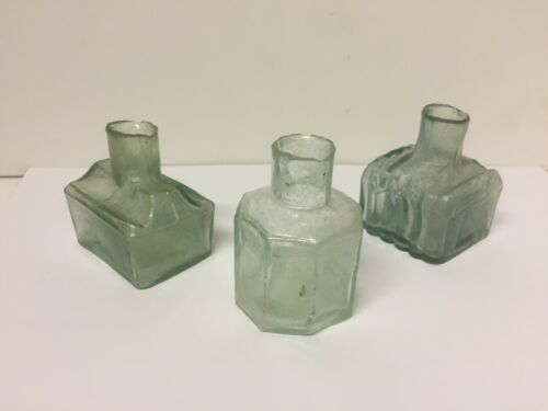 Set of 3 Early English Green Glass Rag Top Log Cabin & Octagon Ink Bottles~ SV6