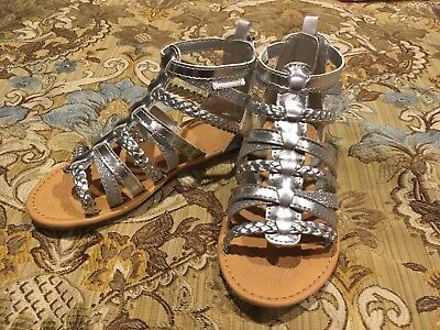 """NWT Carters Toddler Girls Silver """"Smile"""" Gladiator Zipper Sandal Shoes (5M)"""