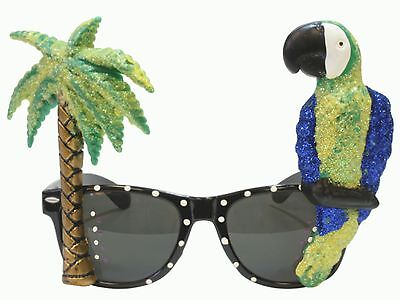 Glitter Novelty Parrot and Palm Tree Sunglasses Costume Tropical Beach Green - Palm Tree Sunglasses