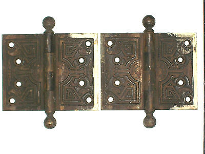 Antique Victorian Eastlake Hinges Late 1800's  5 x 4