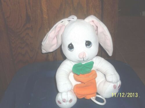 PRECIOUS MOMENTS WHITE MUSICAL BUNNY RABBIT CRIB PULL PLUSH