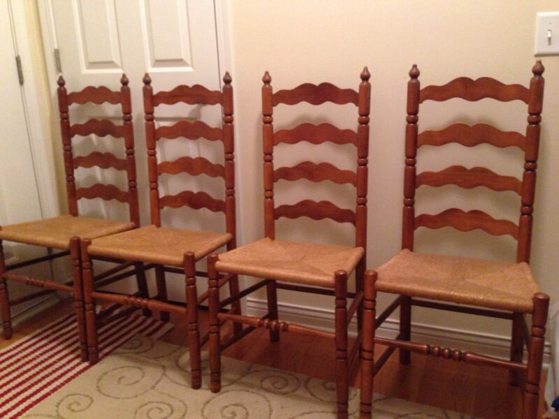 Vintage Tell City #2312 Andover Maple Dining Table and 4 Ladder Chairs Chicago