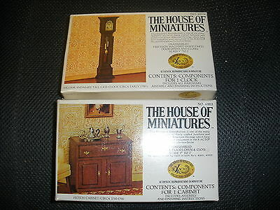 2 NEW House of Miniatures unassembled grandfather clock #40018, cabinate #40003
