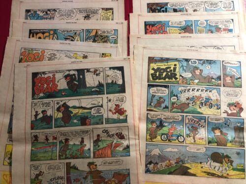 "1968 ""Yogi Bear"" [Lot of 8] Canada Newspaper Comic Strip 15.5x11.5"""
