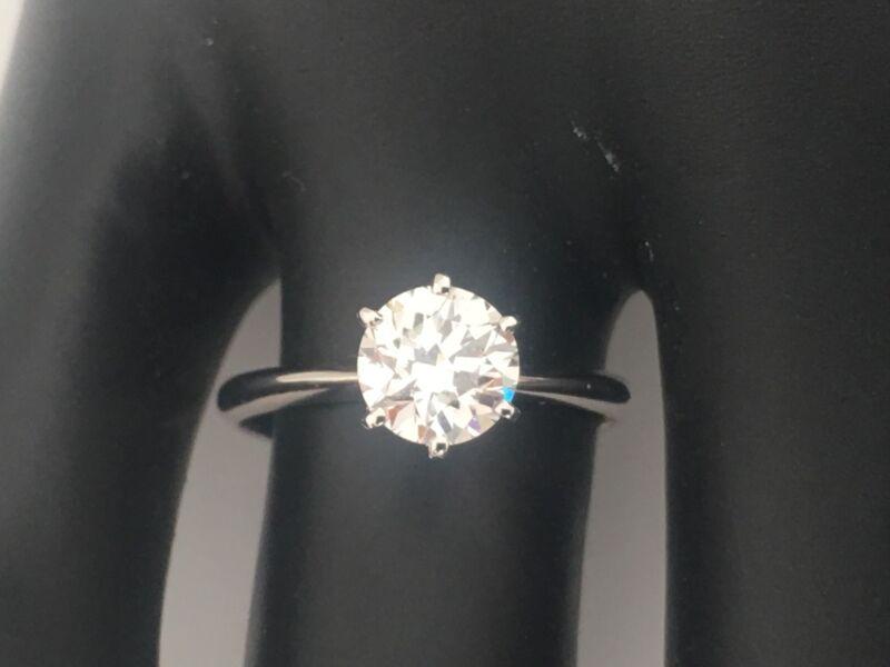 3/4 Carat D Vs2 Diamond Solitaire Engagement Ring  Round Cut 14k White Gold