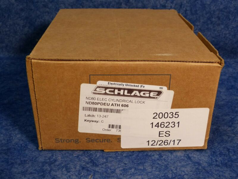 Schlage ND80PDEU ATH 606 Electric Cylindrical Lock set Brass Color