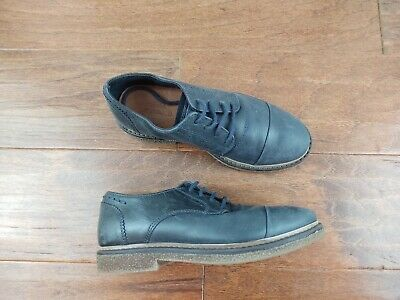Zara Kids Navy Leather Shoes Boys Size EU 32 Brogues Oxford Lace Up Approx US 1