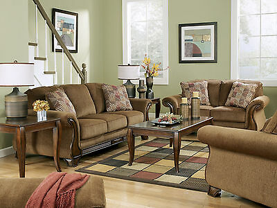 CELIO Traditional Living Room Couch Set NEW Brown Wood Trim Fabric Sofa Loveseat for sale  Shipping to Canada