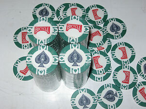 BICYCLE GREEN  POKER CHIPS SPADE STYLE  RARE 100 ct.