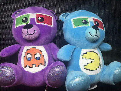 """Peek A Boo Plush Blue And Purple Bear Toy 10"""" Pac-Man And Ghost Retro Gaming"""