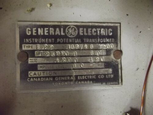 General Electric Potential Transformer Type: JE-27 480-120