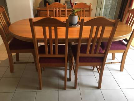 Oak Dining Table Set With Matching 6 Chairs And Side Buffet