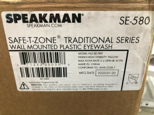 Speakman SE-580 Safe-T-Zone Traditional Series Wall Mounted Plastic Eyewash