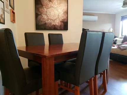 Solid Wood Dining Table U0026 6 Leather Chairs Part 98