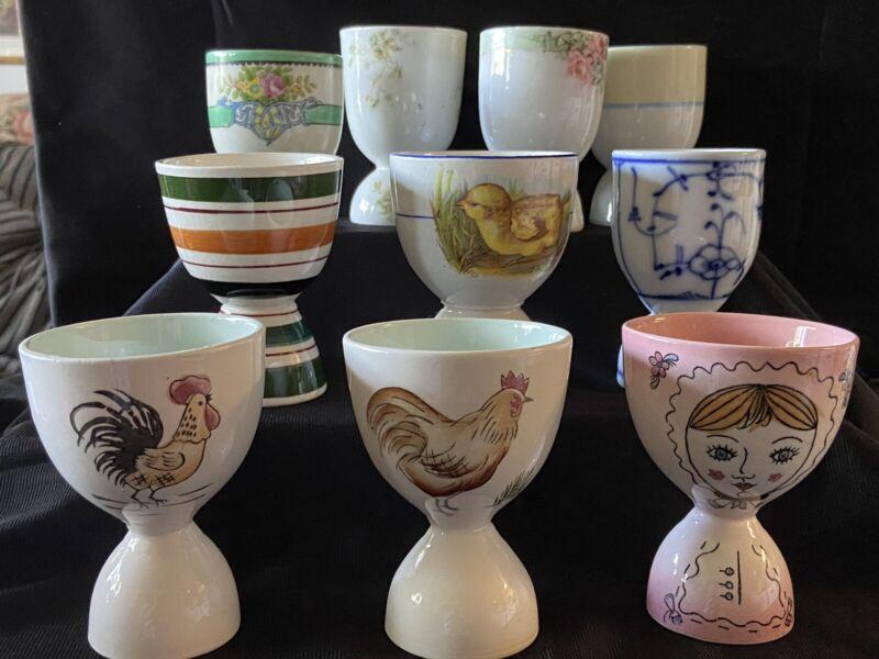 10 NICE VINTAGE MIXED DOUBLE EGG CUPS JAPAN, HAVILAND, MEISSEN
