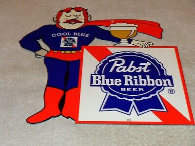 "VINTAGE PABST BLUE RIBBON BEER MAN DIE-CUT 12"" METAL ALCOHOL GASOLINE & OIL SIGN"
