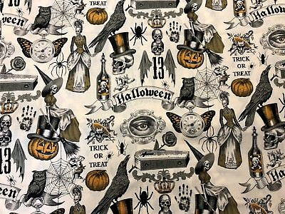 Gothic Spooky Halloween Alexander Henry Trickery Skeleton Macabre Fabric BTHY - Alexander Henry Halloween Fabric